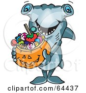 Royalty Free RF Clipart Illustration Of A Trick Or Treating Hammerhead Shark Holding A Pumpkin Basket Full Of Halloween Candy by Dennis Holmes Designs
