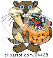 Royalty Free RF Clipart Illustration Of A Trick Or Treating Otter Holding A Pumpkin Basket Full Of Halloween Candy