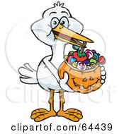 Trick Or Treating Stork Holding A Pumpkin Basket Full Of Halloween Candy