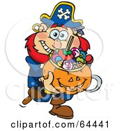 Royalty Free RF Clipart Illustration Of A Trick Or Treating Pirate Holding A Pumpkin Basket Full Of Halloween Candy
