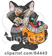 Royalty Free RF Clipart Illustration Of A Trick Or Treating Tasmanian Devil Holding A Pumpkin Basket Full Of Halloween Candy
