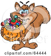 Royalty Free RF Clipart Illustration Of A Trick Or Treating Squirrel Holding A Pumpkin Basket Full Of Halloween Candy