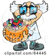 Royalty Free RF Clipart Illustration Of A Trick Or Treating Professor Holding A Pumpkin Basket Full Of Halloween Candy