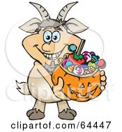 Royalty Free RF Clipart Illustration Of A Trick Or Treating Fawn Holding A Pumpkin Basket Full Of Halloween Candy