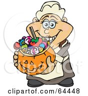 Royalty Free RF Clipart Illustration Of A Trick Or Treating Female Pilgrim Holding A Pumpkin Basket Full Of Halloween Candy