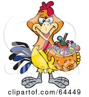 Royalty Free RF Clipart Illustration Of A Trick Or Treating Rooster Holding A Pumpkin Basket Full Of Halloween Candy