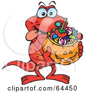 Royalty Free RF Clipart Illustration Of A Trick Or Treating Salamander Holding A Pumpkin Basket Full Of Halloween Candy