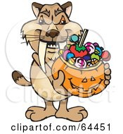 Royalty Free RF Clipart Illustration Of A Trick Or Treating Sabertooth Tiger Holding A Pumpkin Basket Full Of Halloween Candy
