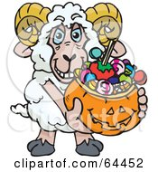 Royalty Free RF Clipart Illustration Of A Trick Or Treating Ram Holding A Pumpkin Basket Full Of Halloween Candy