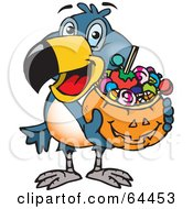Trick Or Treating Toucan Holding A Pumpkin Basket Full Of Halloween Candy
