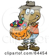 Trick Or Treating Scarecrow Holding A Pumpkin Basket Full Of Halloween Candy