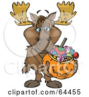 Trick Or Treating Moose Holding A Pumpkin Basket Full Of Halloween Candy