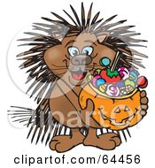 Trick Or Treating Porcupine Holding A Pumpkin Basket Full Of Halloween Candy
