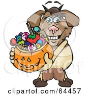 Royalty Free RF Clipart Illustration Of A Trick Or Treating Nanny Goat Holding A Pumpkin Basket Full Of Halloween Candy by Dennis Holmes Designs
