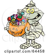 Royalty Free RF Clipart Illustration Of A Trick Or Treating Mummy Holding A Pumpkin Basket Full Of Halloween Candy