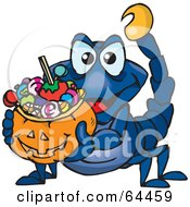 Royalty Free RF Clipart Illustration Of A Trick Or Treating Scorpion Holding A Pumpkin Basket Full Of Halloween Candy