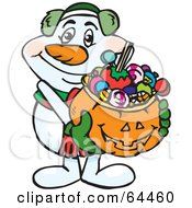 Royalty Free RF Clipart Illustration Of A Trick Or Treating Snowman Holding A Pumpkin Basket Full Of Halloween Candy