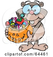 Royalty Free RF Clipart Illustration Of A Trick Or Treating Mole Holding A Pumpkin Basket Full Of Halloween Candy