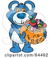 Royalty Free RF Clipart Illustration Of A Trick Or Treating Blue Teddy Bear Holding A Pumpkin Basket Full Of Halloween Candy