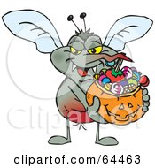 Royalty Free RF Clipart Illustration Of A Trick Or Treating Mosquito Holding A Pumpkin Basket Full Of Halloween Candy by Dennis Holmes Designs