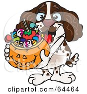Royalty Free RF Clipart Illustration Of A Trick Or Treating Spaniel Holding A Pumpkin Basket Full Of Halloween Candy by Dennis Holmes Designs
