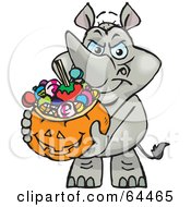 Royalty Free RF Clipart Illustration Of A Trick Or Treating Rhino Holding A Pumpkin Basket Full Of Halloween Candy