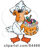 Royalty Free RF Clipart Illustration Of A Trick Or Treating Mute Swan Holding A Pumpkin Basket Full Of Halloween Candy by Dennis Holmes Designs