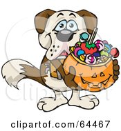 Royalty Free RF Clipart Illustration Of A Trick Or Treating St Bernard Holding A Pumpkin Basket Full Of Halloween Candy