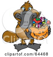 Royalty Free RF Clipart Illustration Of A Trick Or Treating Platypus Holding A Pumpkin Basket Full Of Halloween Candy