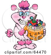 Royalty Free RF Clipart Illustration Of A Trick Or Treating Pink Poodle Holding A Pumpkin Basket Full Of Halloween Candy by Dennis Holmes Designs
