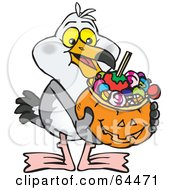 Trick Or Treating Seagull Holding A Pumpkin Basket Full Of Halloween Candy