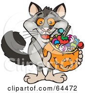 Royalty Free RF Clipart Illustration Of A Trick Or Treating Possum Holding A Pumpkin Basket Full Of Halloween Candy