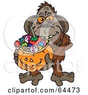 Trick Or Treating Orangutan Holding A Pumpkin Basket Full Of Halloween Candy