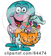 Royalty Free RF Clipart Illustration Of A Trick Or Treating Octopus Holding A Pumpkin Basket Full Of Halloween Candy by Dennis Holmes Designs