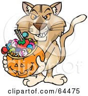 Royalty Free RF Clipart Illustration Of A Trick Or Treating Puma Holding A Pumpkin Basket Full Of Halloween Candy by Dennis Holmes Designs