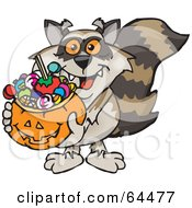Trick Or Treating Raccoon Holding A Pumpkin Basket Full Of Halloween Candy