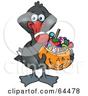 Royalty Free RF Clipart Illustration Of A Trick Or Treating Black Swan Holding A Pumpkin Basket Full Of Halloween Candy