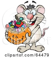 Royalty Free RF Clipart Illustration Of A Trick Or Treating Mouse Holding A Pumpkin Basket Full Of Halloween Candy