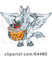 Royalty Free RF Clipart Illustration Of A Trick Or Treating Pegasus Holding A Pumpkin Basket Full Of Halloween Candy