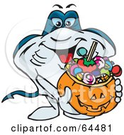 Royalty Free RF Clipart Illustration Of A Trick Or Treating Stingray Holding A Pumpkin Basket Full Of Halloween Candy