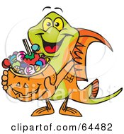 Royalty Free RF Clipart Illustration Of A Trick Or Treating Swordtail Holding A Pumpkin Basket Full Of Halloween Candy