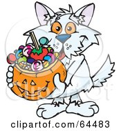 Royalty Free RF Clipart Illustration Of A Trick Or Treating Terrier Holding A Pumpkin Basket Full Of Halloween Candy