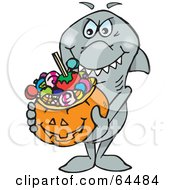 Royalty Free RF Clipart Illustration Of A Trick Or Treating Shark Holding A Pumpkin Basket Full Of Halloween Candy