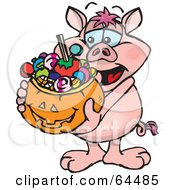 Royalty Free RF Clipart Illustration Of A Trick Or Treating Pig Holding A Pumpkin Basket Full Of Halloween Candy
