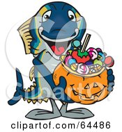 Trick Or Treating Tuna Holding A Pumpkin Basket Full Of Halloween Candy