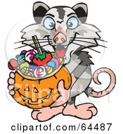 Trick Or Treating Opossum Holding A Pumpkin Basket Full Of Halloween Candy