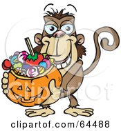 Royalty Free RF Clipart Illustration Of A Trick Or Treating Monkey Holding A Pumpkin Basket Full Of Halloween Candy