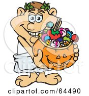 Royalty Free RF Clipart Illustration Of A Trick Or Treating Roman Man Holding A Pumpkin Basket Full Of Halloween Candy