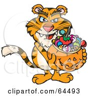Royalty Free RF Clipart Illustration Of A Trick Or Treating Tiger Holding A Pumpkin Basket Full Of Halloween Candy