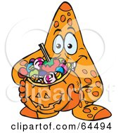 Royalty Free RF Clipart Illustration Of A Trick Or Treating Starfish Holding A Pumpkin Basket Full Of Halloween Candy